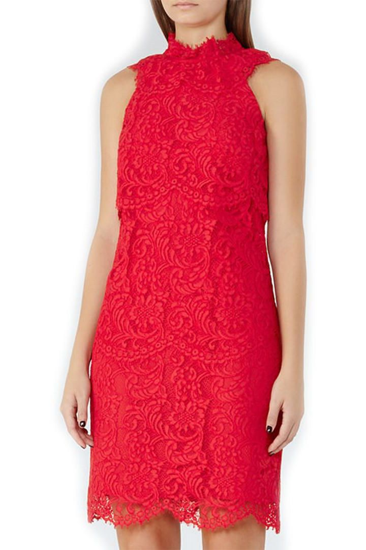 Reiss Sophia Lace Overlay Dress Preview Images