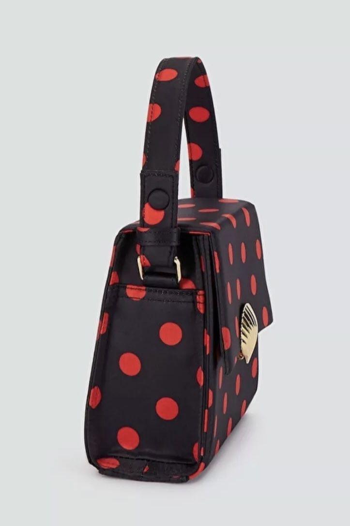 RIXO London Jemima Polka-Dot Satin Top Bag 4 Preview Images