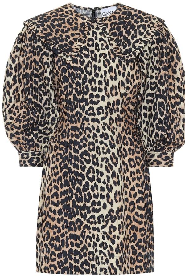Image 1 of Ganni leopard print poplin dress
