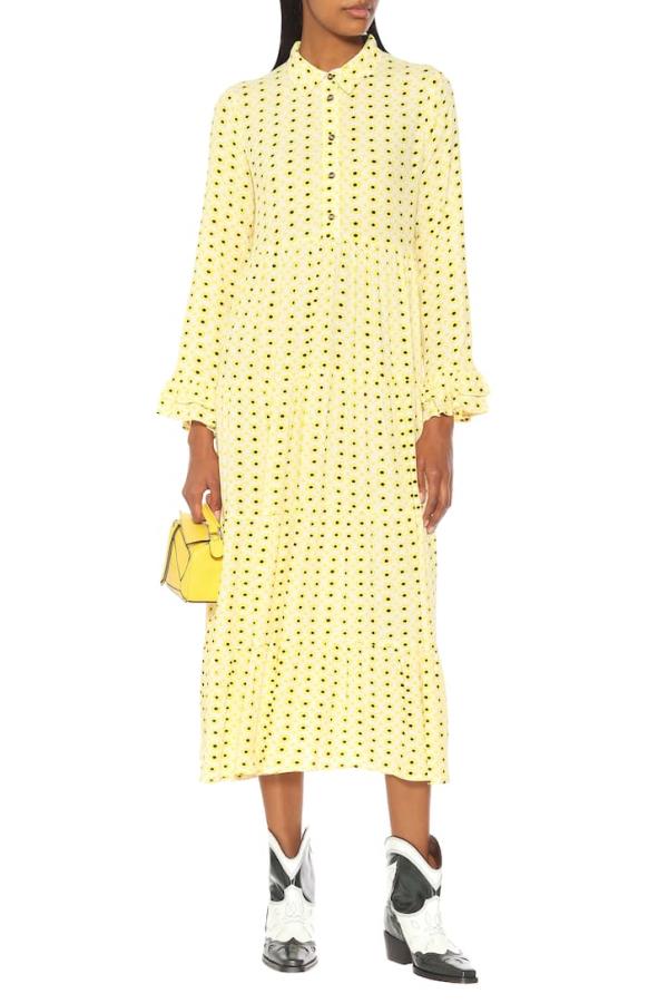 Ganni Floral Crepe Midi Dress 2