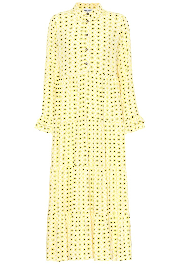 Ganni Floral Crepe Midi Dress