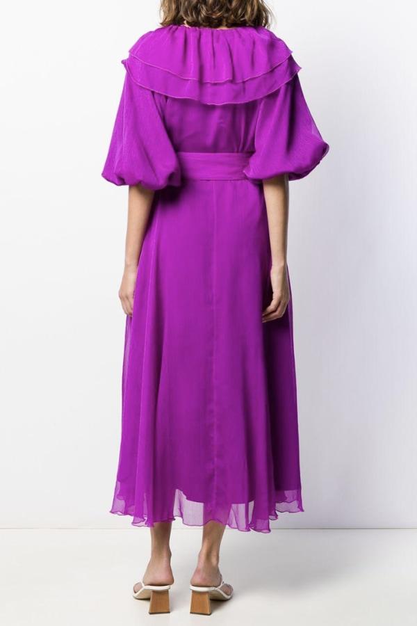 Image 3 of Rotate purple ruffle midi dress