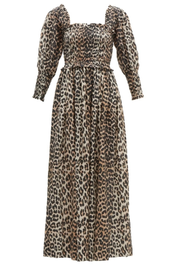 Ganni Shirred Leopard Print Dress 2
