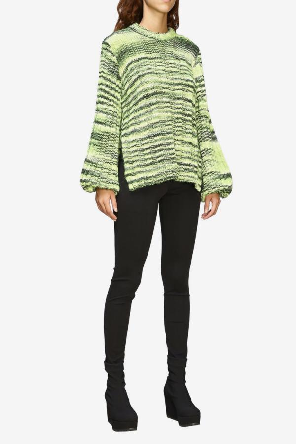 Ganni Green Balloon-sleeve Sweater 4