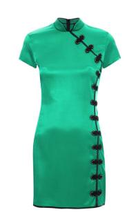 De La Vali Suki Green Satin Dress  Preview Images