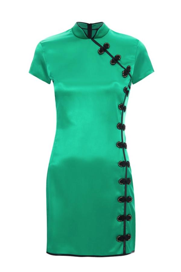 De La Vali Suki Green Satin Dress