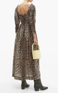 Ganni Shirred Leopard Print Dress 5 Preview Images