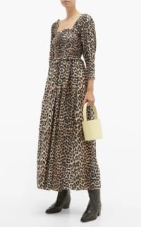 Ganni Shirred Leopard Print Dress 3 Preview Images