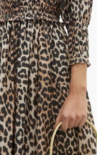 Ganni Shirred Leopard Print Dress 6 Preview Images