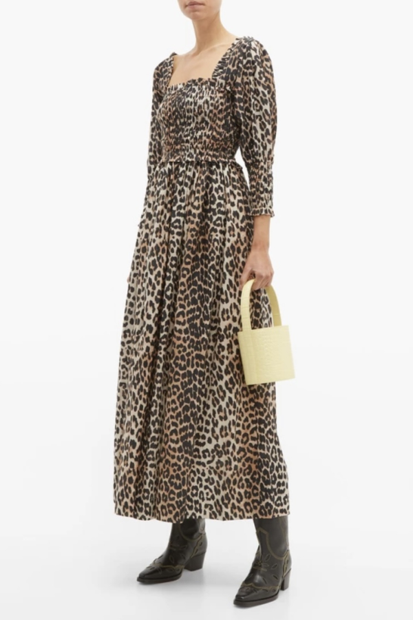 Ganni Shirred Leopard Print Dress 3