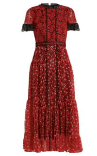 Saloni Red floral lace dress 2 Preview Images