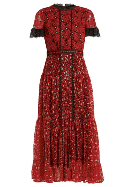 Saloni Red floral lace dress 2
