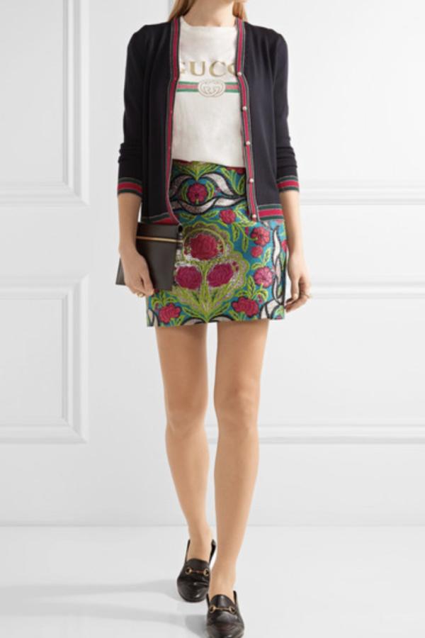 Gucci Metallic floral-jacquard mini skirt 2