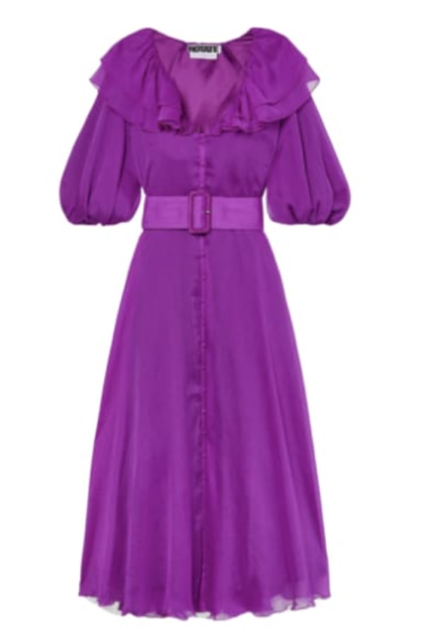 Image 1 of Rotate purple ruffle midi dress