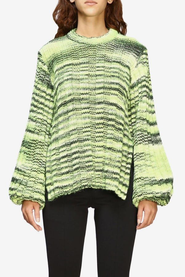 Ganni Green Balloon-sleeve Sweater 2 Preview Images