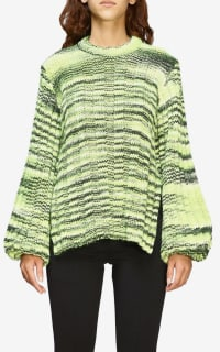 Ganni Green Balloon-sleeve Sweater 3 Preview Images