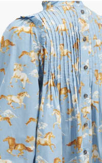 Ganni Horse-print pintucked cotton s 4 Preview Images
