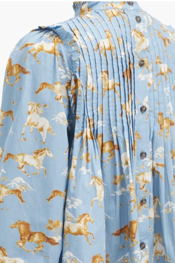 Ganni Horse-print pintucked cotton s 4