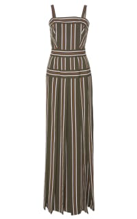 Martin Grant Pleated stripe long dress Preview Images