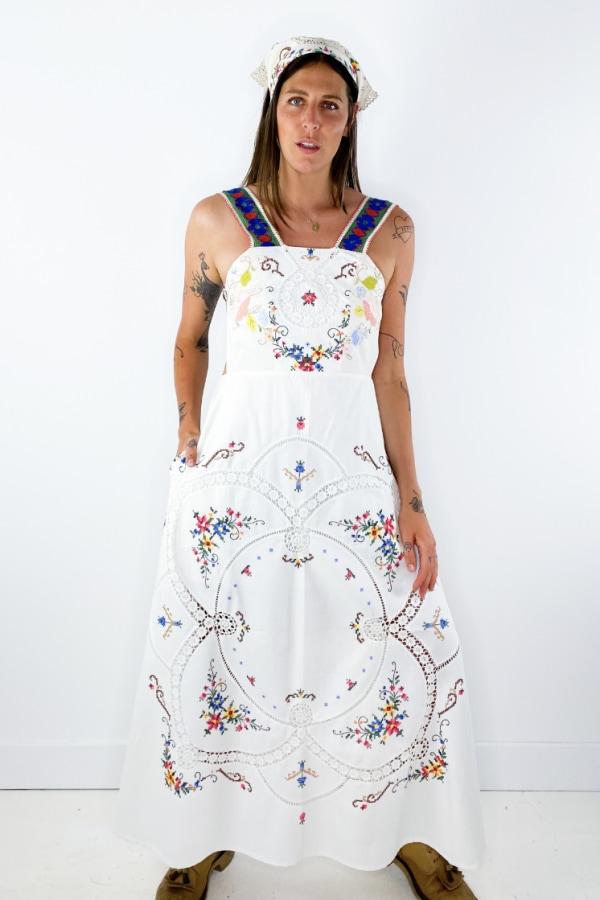 Image 4 of Magpie Vintage linen backless midi dress