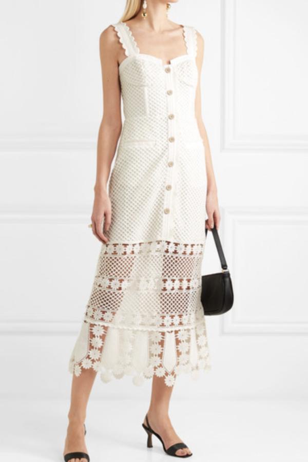 Self Portrait Crocheted lace midi dress 2