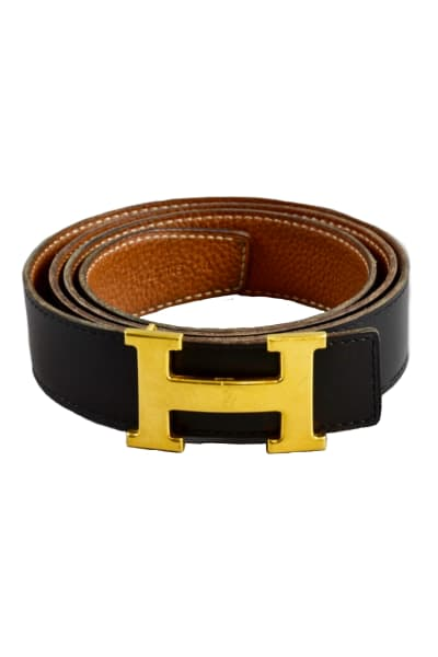 Hermès Black & Tan Constance Belt  3