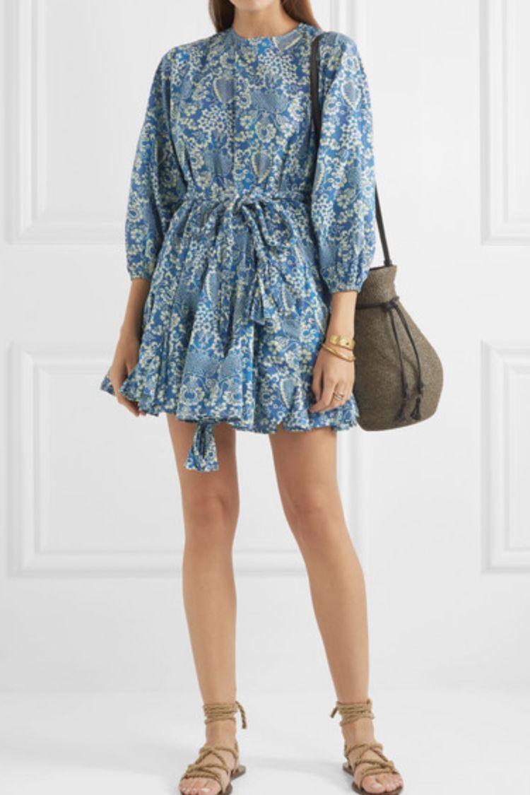Rhode Resort Ella pleated floral-print cotton-poplin mini dress 3 Preview Images