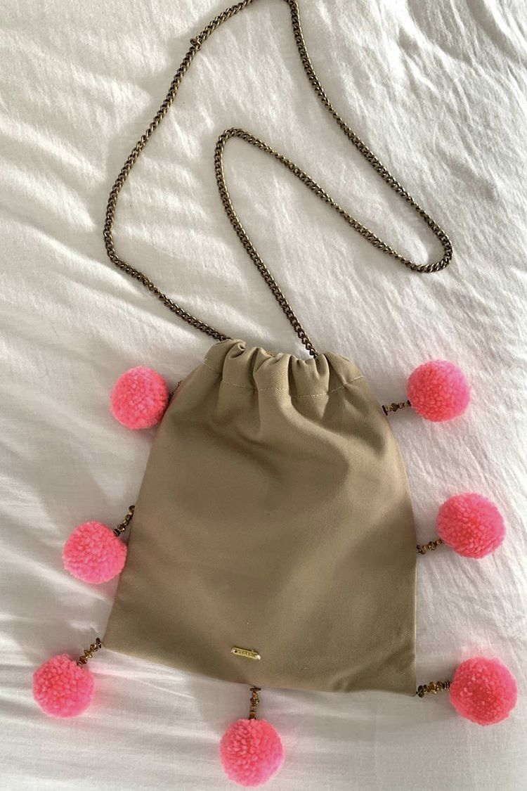 J.Crew Two sided pom pom bag 2 Preview Images