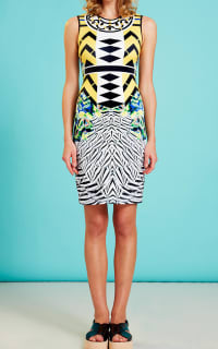 Clover Canyon Toucan Embellished Printed Neoprene Dress 2 Preview Images