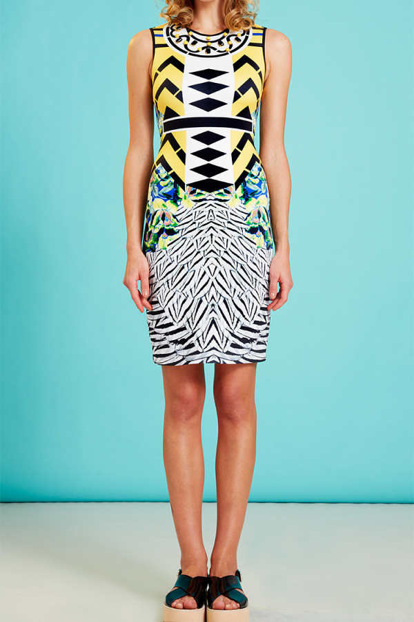 Clover Canyon Toucan Embellished Printed Neoprene Dress 2