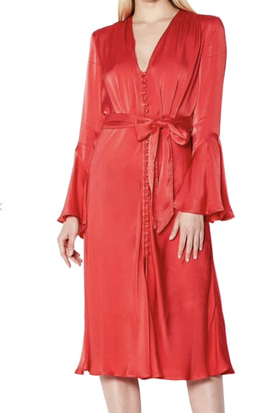 Ghost Coral Satin Dress 2