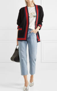 Gucci Grosgrain-trimmed cotton-blend tweed cardigan 2 Preview Images