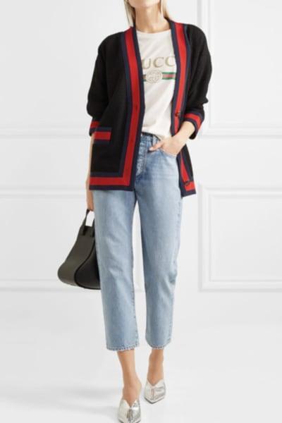 Gucci Grosgrain-trimmed cotton-blend tweed cardigan 2