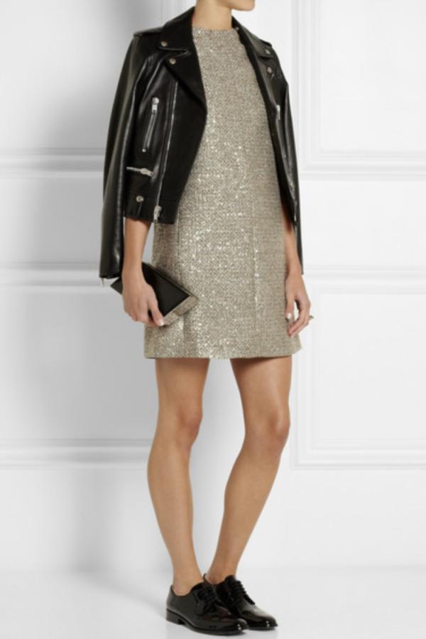 Saint Laurent Sequin metallic tweed dress 2