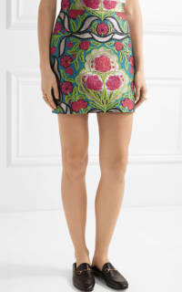 Gucci Metallic floral-jacquard mini skirt 4 Preview Images