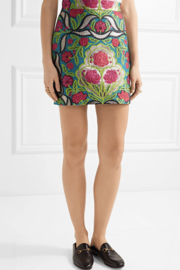 Gucci Metallic floral-jacquard mini skirt 4