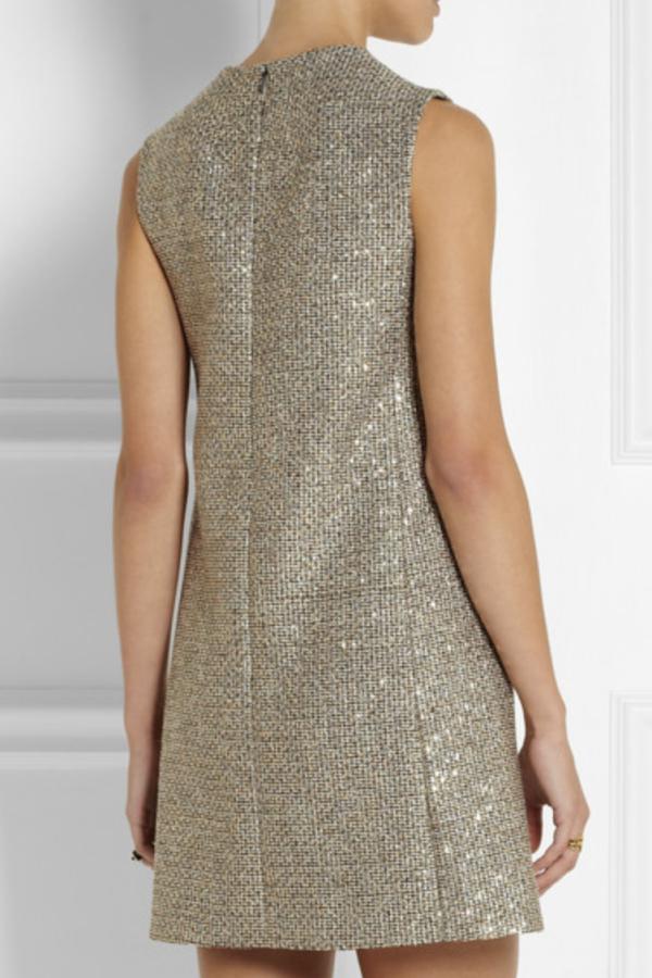 Saint Laurent Sequin metallic tweed dress 3