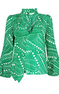 RIXO London KATE SILK BLOUSE - GREEN PSYCHEDELIC SPOT Preview Images