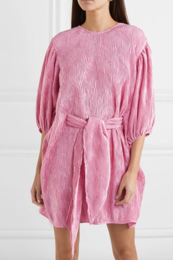 Ganni Belted plissé-satin mini dress 3