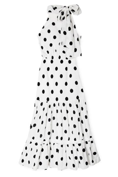 RIXO London Polka Dot Midi Dress