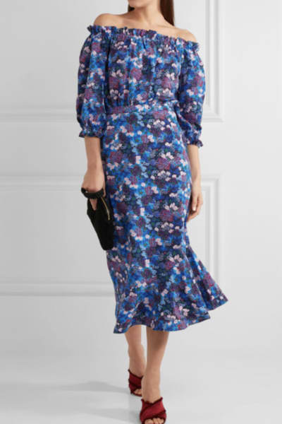 Saloni Grace off-the-shoulder floral-print silk-crepe dress 2