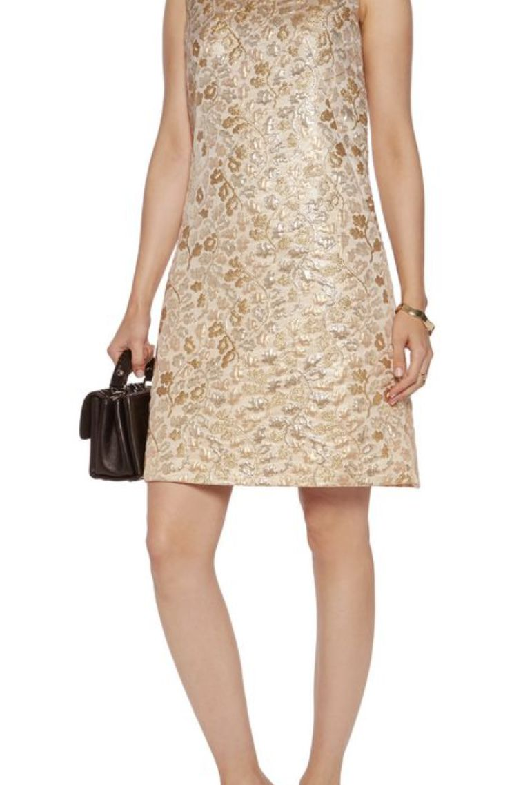 Dolce & Gabbana Metallic Embroidered Faille Dress  2 Preview Images
