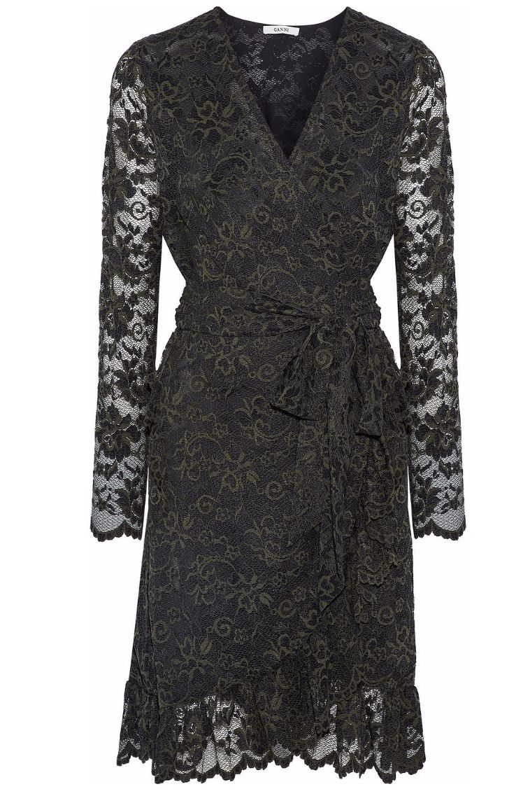 Ganni Flynn lace wrap dress Preview Images