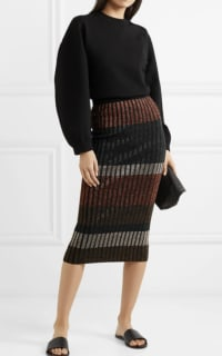 By Malene Birger Hollis striped metallic ribbed-knit midi skirt 2 Preview Images