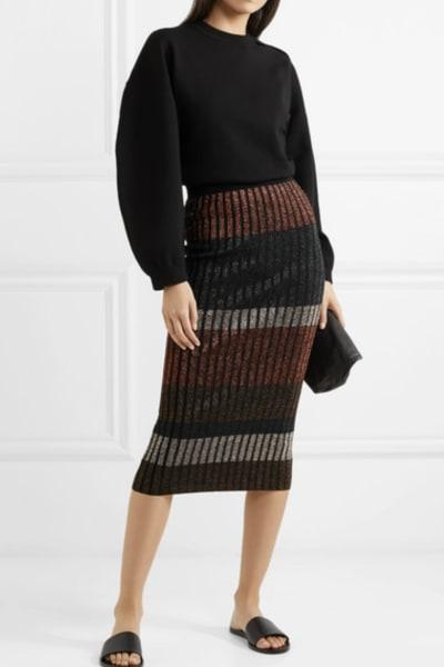 By Malene Birger Hollis striped metallic ribbed-knit midi skirt 2
