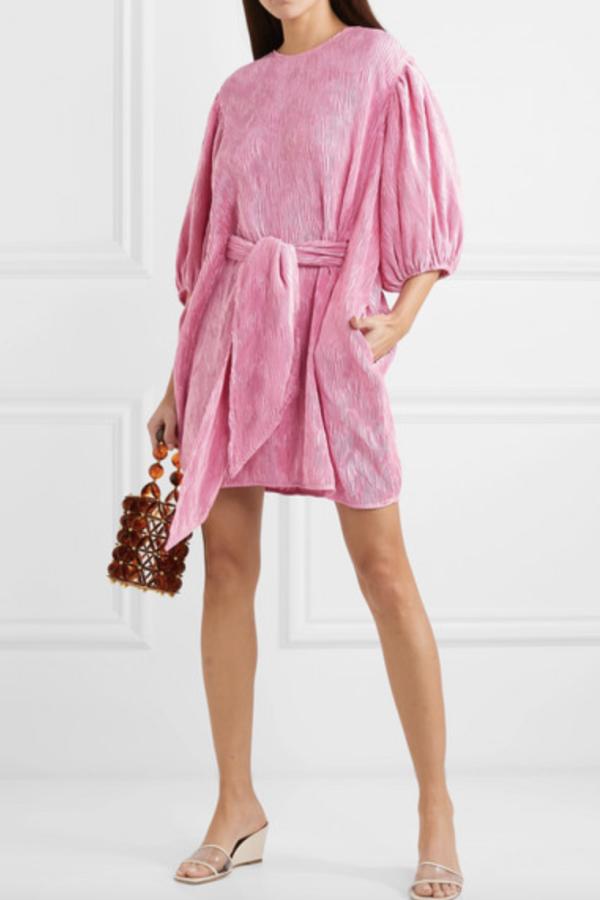 Ganni Belted plissé-satin mini dress 4