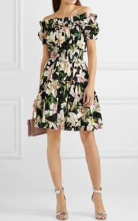 Dolce & Gabbana Off-the-shoulder ruffled floral-print cotton-poplin dress 2 Preview Images