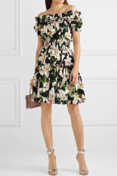 Dolce & Gabbana Off-the-shoulder ruffled floral-print cotton-poplin dress 2