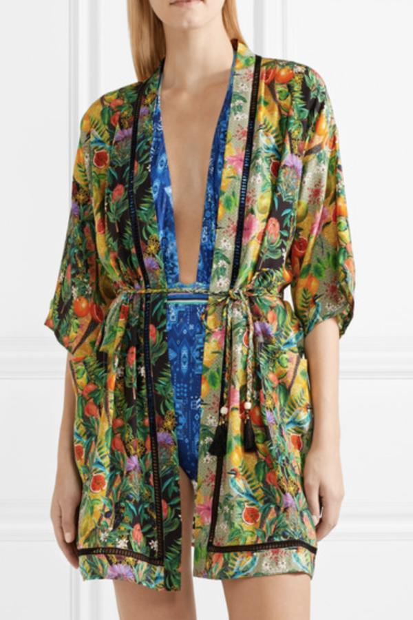 Matthew Williamson Mediterranean Medley lattice-trimmed printed silk-chiffon kimono 2