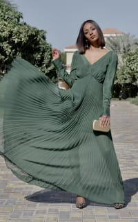 Self Portrait Pleated Green Maxi Dress 4 Preview Images